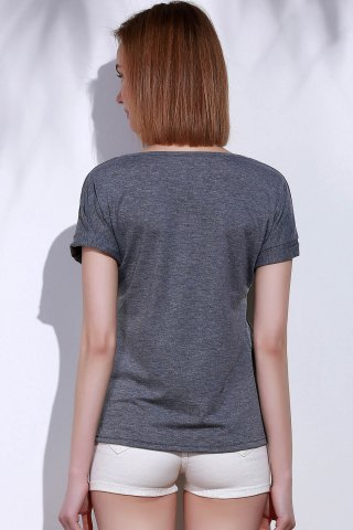 Best Casual Scoop Neck Short Sleeve Happy Print Women's T-Shirt - XL GRAY Mobile
