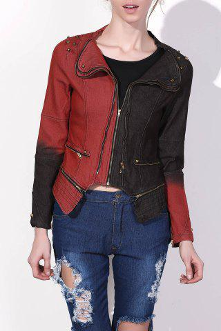 Outfit Punk Turn-Down Neck Long Sleeve Studded Hit Color Women's Jacket