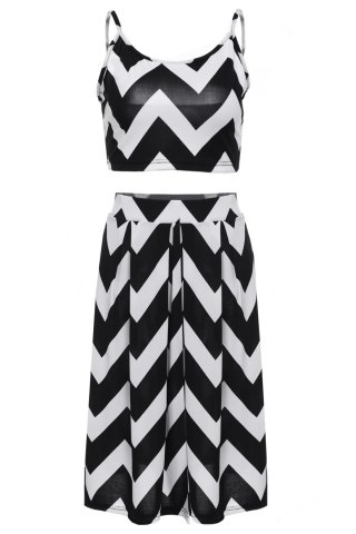 Shop Stylish Spaghetti Strap Tank Top + High-Waisted Wave Print Skirt Women's Twinset WHITE AND BLACK L