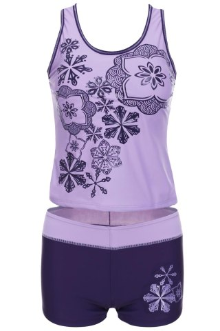 Unique Stylish Scoop Neck Printed Two-Piece Swimsuit For Women