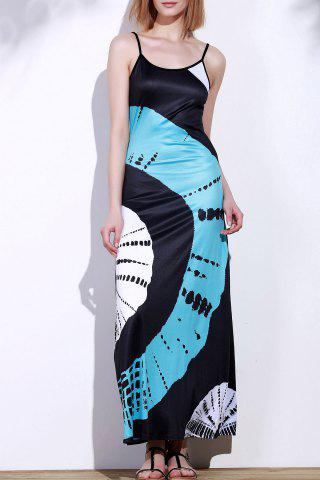Sale Spaghetti Strap Tie Dye African Maxi Dress BLUE AND BLACK XL