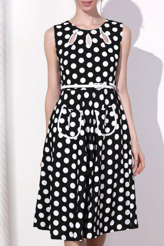 Shop Vintage Round Collar Polka Dot Print Sleeveless Dress For Women BLACK 2XL