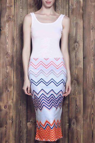 Square Neck Bodycon Chevron Maxi Dress