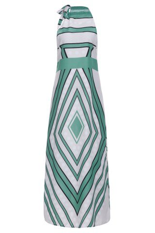 Sale Fashionable Round Collar Paisely Print Sleeveless Maxi Dress For Women