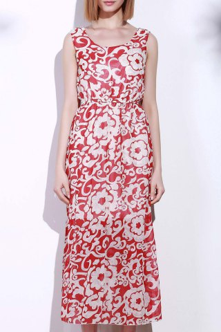 Chic Bohemian Style Printed Sleeveless Porcelain Maxi Dress For Women RED ONE SIZE(FIT SIZE XS TO M)
