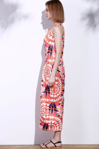 Unique Bohemian Scoop Neck Sleeveless Printed Maxi Dress For Women - L RED Mobile