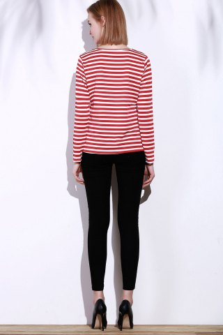 Fashion Casual Round Collar Stripes Print Long Sleeve T-Shirt For Women - L RED Mobile