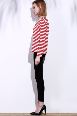Unique Casual Round Collar Stripes Print Long Sleeve T-Shirt For Women - L RED Mobile