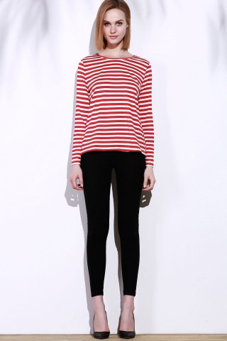 Discount Casual Round Collar Stripes Print Long Sleeve T-Shirt For Women - L RED Mobile