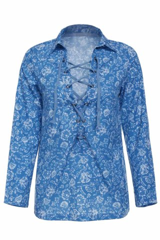 New Stylish Turn-Down Collar Long Sleeve Printed Hollow Out Women's Blouse COLORMIX S