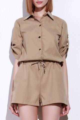 Outfit Fashionable Shirt Collar Solid Color Drawstring Waist Romper For Women KHAKI S