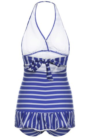 Best Stripe Halter Neck Ruffled One Piece Swimwear - XL STRIPES Mobile