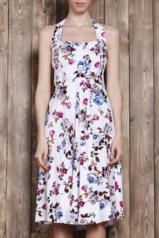 Cheap Halter Flower Print Sleeveless Tea Length Vintage Tea Dress