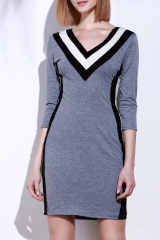 New Sexy Plunging Neck 3/4 Sleeve Spliced Slimming Women's Dress GRAY M