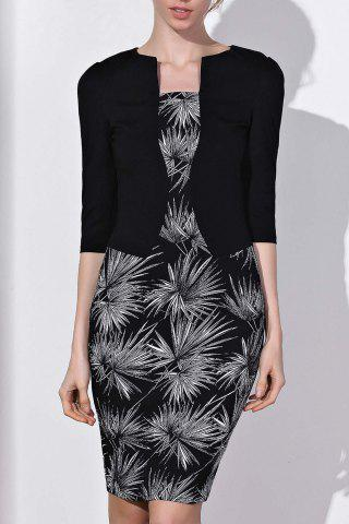 Store OL Style Round Neck 3/4 Sleeve Printed Faux Twinset Women's Dress BLACK S