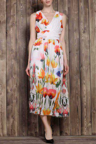 Outfit V-Neck Sleeveless Tropical Floral Maxi Dress COLORMIX S