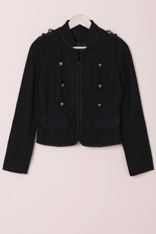 Best Fashionable Stand Collar Long Sleeves Buttoned Worsted Jacket For Women