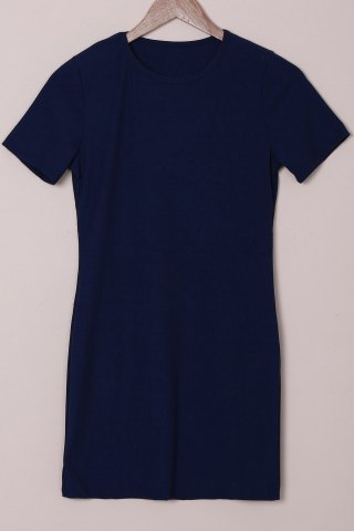 Latest Brief Round Collar Purplish Blue Short Sleeve Dress For Women PURPLISH BLUE L