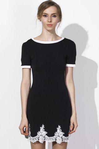 New Fresh Style Jewel Neck Lace Spliced Hem Short Sleeve Dress For Women BLACK S