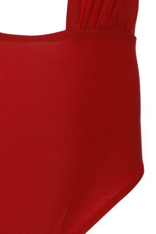 Latest Alluring Halterneck Red One-Piece Swimsuit For Women - M RED Mobile