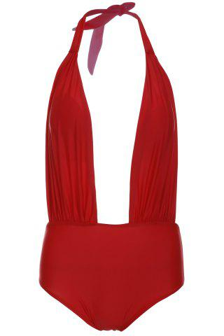 Shop Alluring Halterneck Red One-Piece Swimsuit For Women RED M