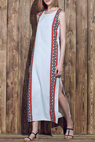 New Slit Maxi Printed Boho Dress for Summer COLORMIX S