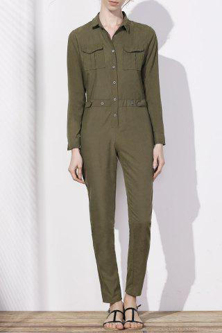 Outfits Stylish Shirt Collar Long Sleeves Single-Breasted Jumpsuit For Women ARMY GREEN XL