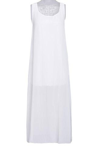 Latest Stylish Scoop Neck Sleeveless Hollow Out Furcal Women's Dress WHITE M