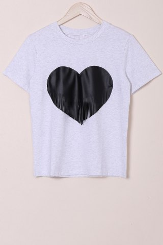 Shop Casual Round Collar Tassel Design Heat Shape Printed T-Shirt For Women