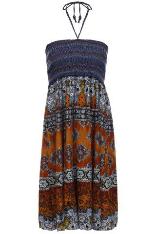 Fashion Bohemian Printed Strapless Dress For Women