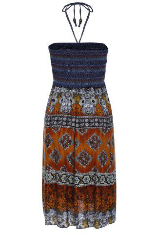 Discount Bohemian Printed Strapless Dress For Women - ONE SIZE(FIT SIZE XS TO M) ORANGE Mobile