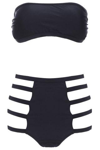 Trendy Strapless High Waisted Cut Out Bandeau Bikini Set - S BLACK Mobile