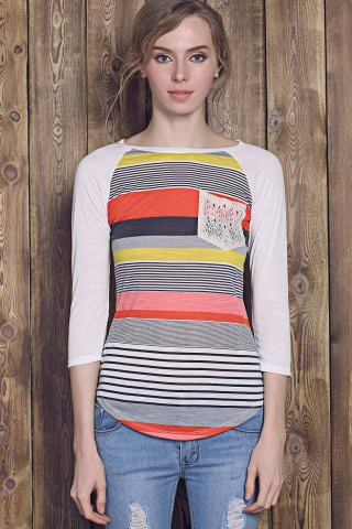 Outfits Trendy Striped Lace Spliced 3/4 Sleeve Irregular T-Shirt For Women - S RED Mobile
