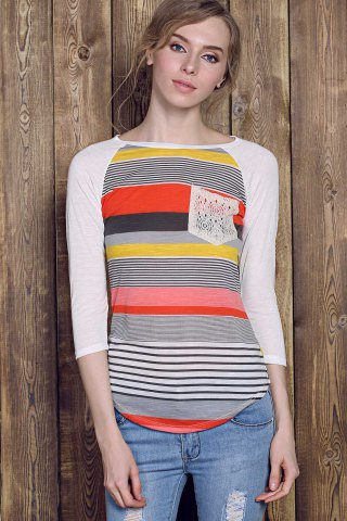 Chic Trendy Striped Lace Spliced 3/4 Sleeve Irregular T-Shirt For Women - L RED Mobile