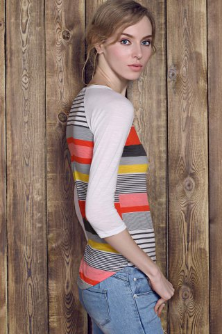 Affordable Trendy Striped Lace Spliced 3/4 Sleeve Irregular T-Shirt For Women - XL RED Mobile