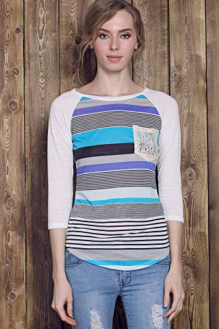 Affordable Trendy Striped Lace Spliced 3/4 Sleeve Irregular T-Shirt For Women - S BLUE Mobile