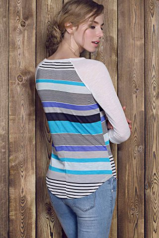 Online Trendy Striped Lace Spliced 3/4 Sleeve Irregular T-Shirt For Women - M BLUE Mobile