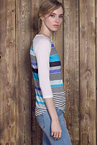 Outfit Trendy Striped Lace Spliced 3/4 Sleeve Irregular T-Shirt For Women - M BLUE Mobile