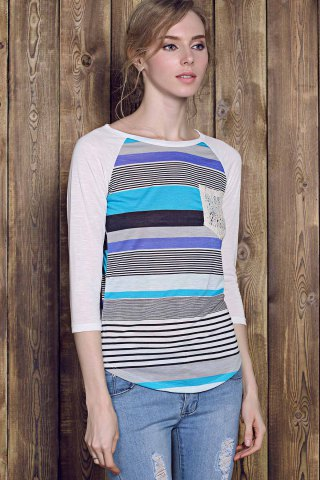 Outfits Trendy Striped Lace Spliced 3/4 Sleeve Irregular T-Shirt For Women - XL BLUE Mobile
