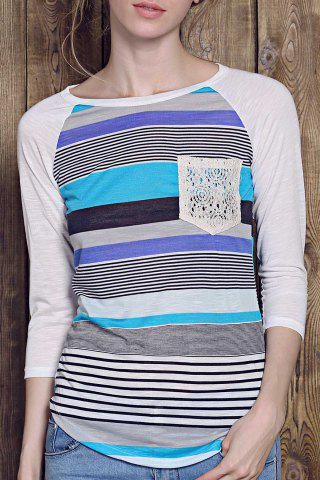 Trendy Striped Lace Spliced 3/4 Sleeve Irregular T-Shirt For Women - Blue - Xl