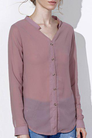 Store Chic V Neck Long Sleeve Pure Color Chiffon Women's Shirt
