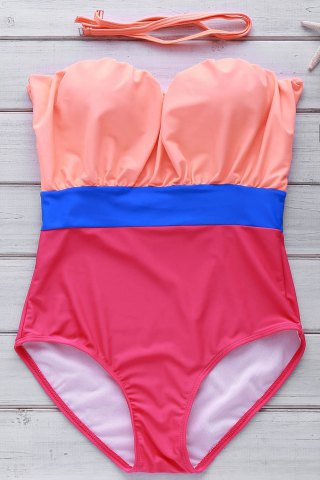 New Strapless Contrast Underwire One Piece Swimwear