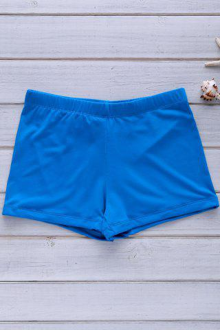 Chic Elastic Solid Color Swimming Trunks For Men BLUE L