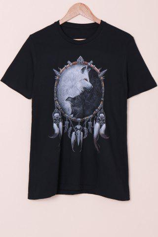 Unique Special Fox Print Round Neck Short Sleeves 3D T-Shirt For Men