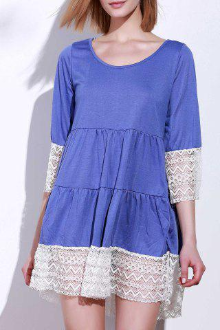 Unique Casual Lace Splicing Loose-Fitting A Line Dress PURPLE S