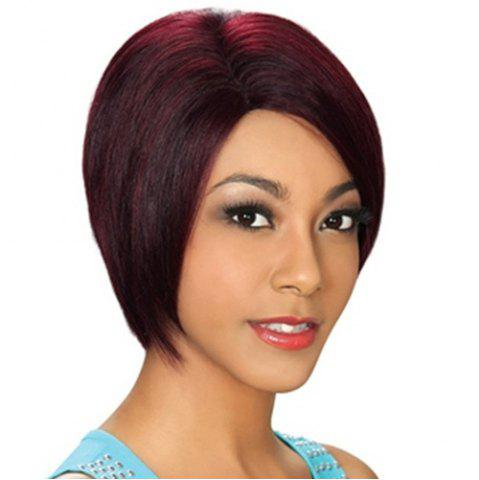 Online Stylish Wine Red Short Capless Bob Style Straight Synthetic Wig For Women