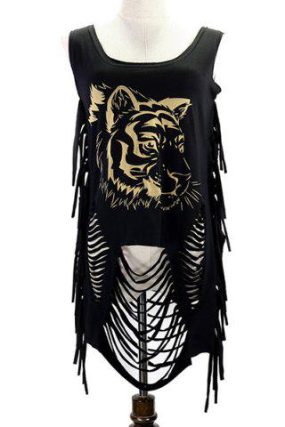 Affordable Fringed Ripped Tiger Printed Tank Top
