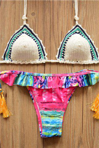 New Alluring Halter Hit Color Flounced Lace-Up Women's Crochet Bikini Set