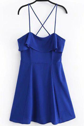 Buy Spaghetti Strap Criss Cross Overlay Dress SAPPHIRE BLUE S