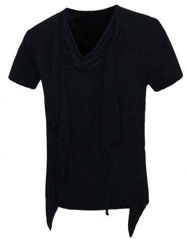 Solid Color Faux Twinset Short Sleeves T-Shirt For Men - BLACK M